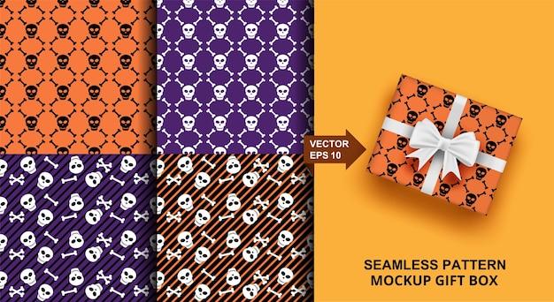 ハロウィーンのシームレスなパターンセット。ファッション、衣類、生地、ギフト包装のスカルデザイン。