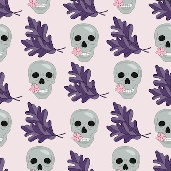 Halloween seamless pattern skull and leaves