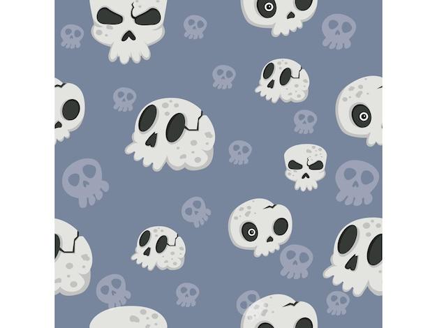 할로윈 원활한 패턴 두개골입니다. 만화 캐릭터 할로윈 그림입니다. 종이 배경 벡터에 대 한 벡터 패턴