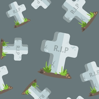 Halloween seamless pattern tombstones with r.i.p text.