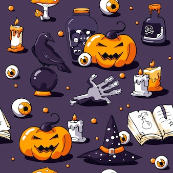 Halloween seamless pattern on violet
