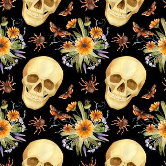 할로윈 원활한 패턴 수채화 고딕 두개골 나비와 꽃꽂이