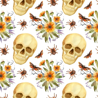 할로윈 원활한 패턴 수채화 유령 두개골 나비와 고딕 꽃꽂이