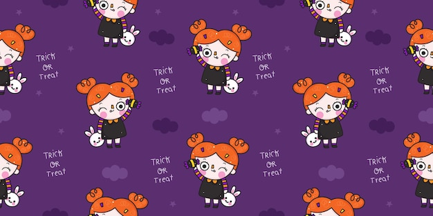 Halloween seamless pattern  witch cartoon kawaii illustration