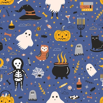 Halloween seamless pattern with adorable spooky holiday creatures and items - ghost, skeleton, jack-o'-lantern, candies, black cat, witch hat, spider web