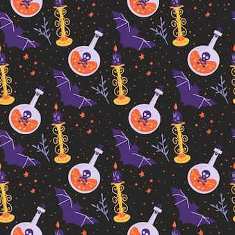 Halloween seamless pattern with bat poison potion and candle Premium Vector