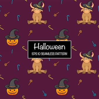 Хэллоуин бесшовные модели с быками. мультяшный стиль. векторная иллюстрация.