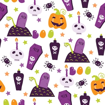 Halloween seamless pattern with cartoon cute pumpkins ghosts witches bats bones stars