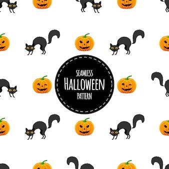 Хэллоуин бесшовные модели с кошками. мультяшный стиль. векторная иллюстрация.