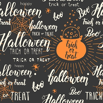 Halloween seamless pattern with cauldron, web, spider in sketch style and hand made lettering on black.