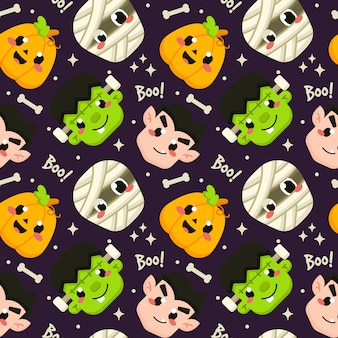 Halloween seamless pattern with cute ghost avatar
