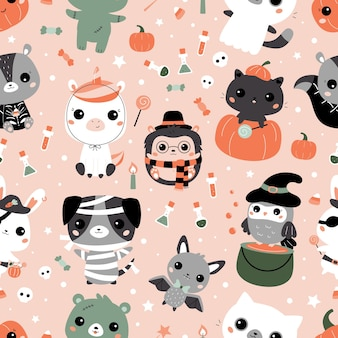 Halloween seamless pattern with cute kawaii animals in different costumes