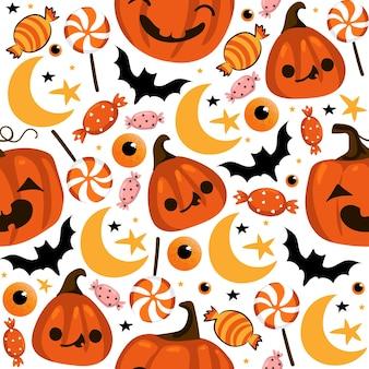 Хэллоуин бесшовные модели с милыми тыквами и другими элементами хэллоуина. хэллоуин векторный фон. eps 10