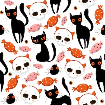 Halloween seamless pattern with cute pumpkins, black cat and other halloween elements. halloween vector background. eps 10