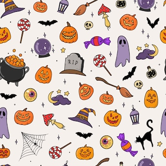 Halloween seamless pattern with doodles