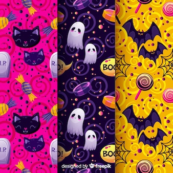 Halloween seamless pattern with festive characters