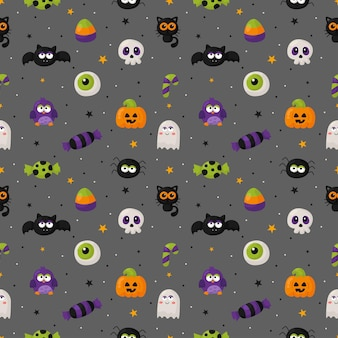 Halloween seamless pattern with funny spooky on gray background