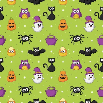 Halloween seamless pattern with funny spooky on green background
