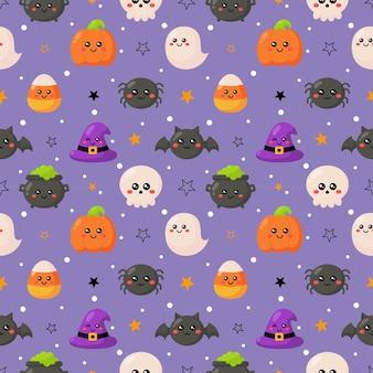 紫色の背景に面白い不気味なハロウィーンのシームレスなパターン