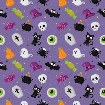 Halloween seamless pattern with funny spooky on purple background