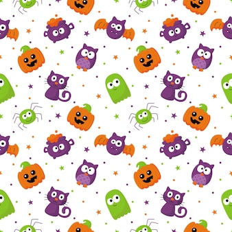 Halloween seamless pattern with funny spooky on white background