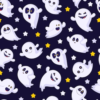 Halloween seamless pattern with ghosts emoji, stars, funny characters