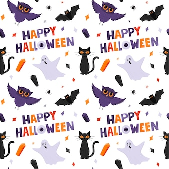 Halloween seamless pattern with ghosts, owls, a cat and happy halloween words. white background.