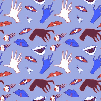 Halloween seamless pattern with hands eyes and vampire mouths