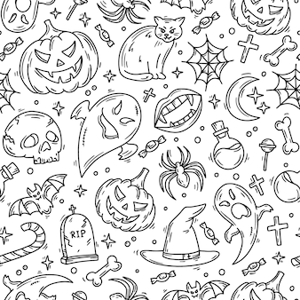 Halloween seamless pattern with magic icons in doodle style