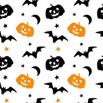 호박 박쥐 문 스타 흰색 배경에 고립 된 할로윈 원활한 패턴