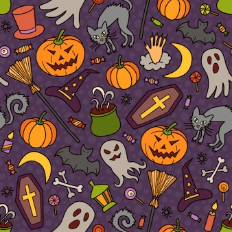 Halloween seamless pattern with pumpkin, ghost and witch hat in doodle style. hand drawn illustration