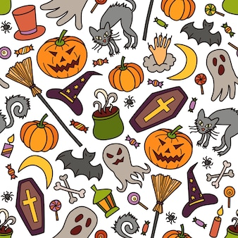 Halloween seamless pattern with pumpkin, ghost and witch hat in doodle style
