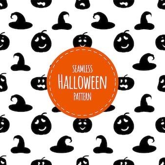 Хэллоуин бесшовные модели с силуэтами тыквы и шляпы. мультяшный стиль. векторная иллюстрация.