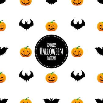 Halloween seamless pattern with pumpkins and bats. cartoon style