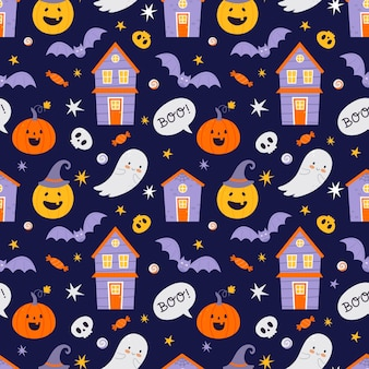 Halloween seamless pattern with pumpkins and bats and other halloween symbols.