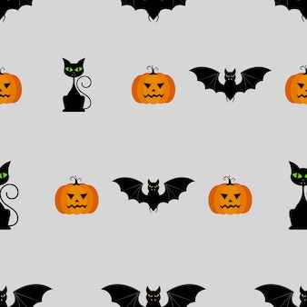 Halloween seamless pattern with pumpkins, black cat and bat
