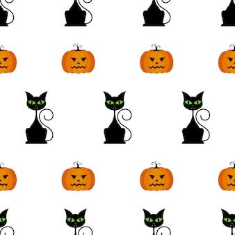 Halloween seamless pattern with pumpkins, black cat.
