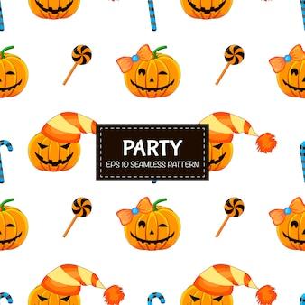 Хэллоуин бесшовные модели с тыквами. мультяшный стиль иллюстрации.