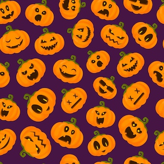Halloween seamless pattern with pumpkins emoji, funny and scary creepy characters, facial expressions