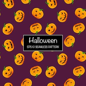 Halloween seamless pattern with pumpkins