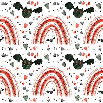 Хэллоуин бесшовные модели с красными радугами и летучими мышами. жуткая бумага для скрапбукинга