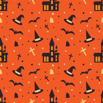Halloween seamless pattern with scary house bats  witch hat and tombs endless vector texture