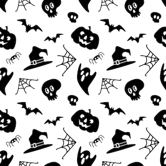 Halloween seamless pattern with skull bat spider web hat isolated on white background