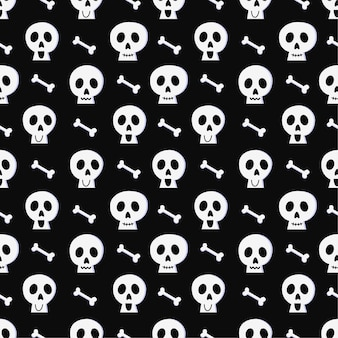 Halloween seamless pattern with skull and bone on black background.