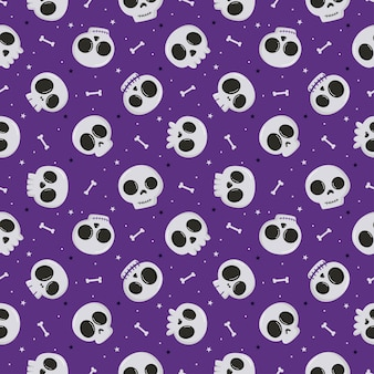Halloween seamless pattern with skull and bone isolated on purple background