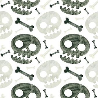 Modello senza cuciture di halloween con teschi e ossa carta da scrapbooking digitale spettrale