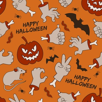Halloween seamless pattern with smiling red lanterns of jack hands with bones