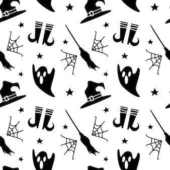 Halloween seamless pattern with  spider web ghost star hat legs broomstick on white background