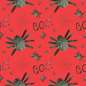 거미와 거미줄이 있는 할로윈 원활한 패턴 으스스한 디지털 종이