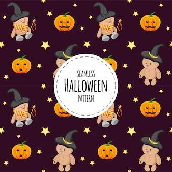 Halloween seamless pattern with teddy bears. cartoon style.